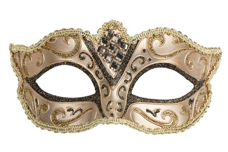 Carnival mask decorated with designs on a white background Standard-Bild