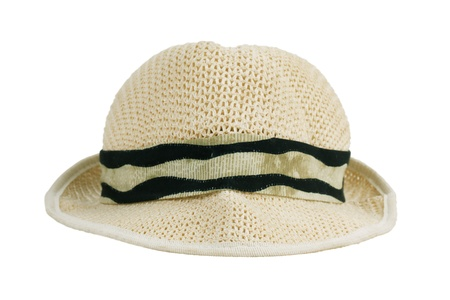 cancellated: Wicker light beige hat on white background