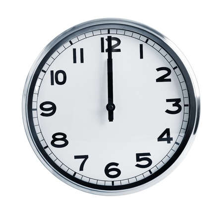 horologe: Wall office clock showing at noon on a white background