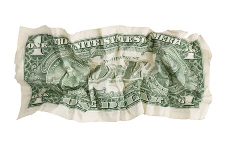 Crumpled paper dollar bill on a white background photo