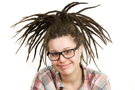 blithe: Young woman with dreadlocks wearing glasses and a shirt