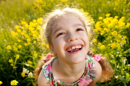 blithe: Portrait of a cheerful little girl among the meadow flowers Stock Photo