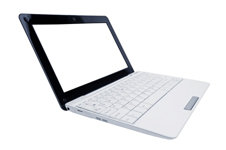 Opened laptop computer white color on a white background Stock Photo - 13902685