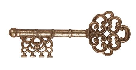 latchkey: Vintage metal Locksmith Key on a white background