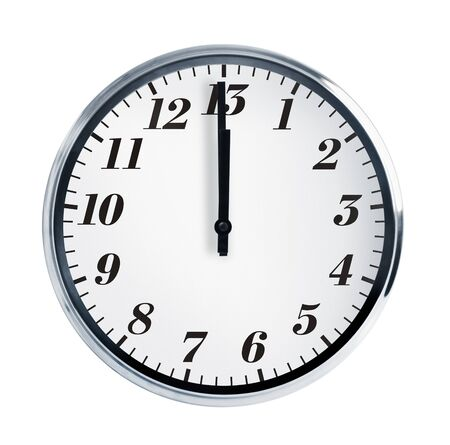 baker's: Wall clock on a white background show at noon Stock Photo