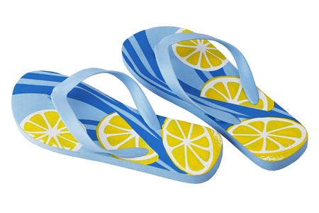 A pair of smart blue yellow beach slippers on a white background Stock Photo