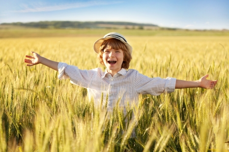 Boy expresses delight in the middle of wheat fields Stock Photo