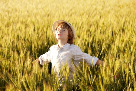 Fair-haired boy in the rays of evening sun photo