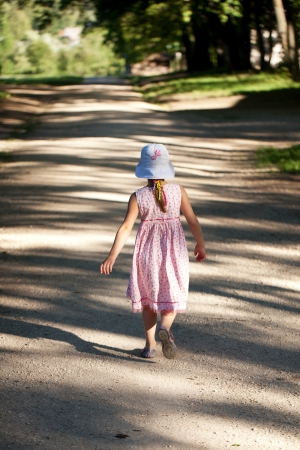 lonesomeness: Little girl is alone on the road