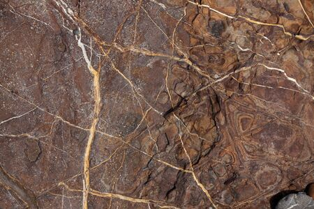 firmness: Brown stone with cracks and stains on the surface