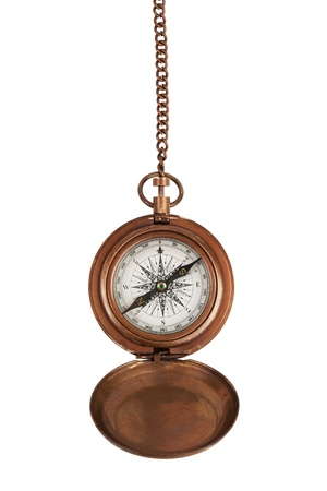 Vintage compass on a chain in brass body photo