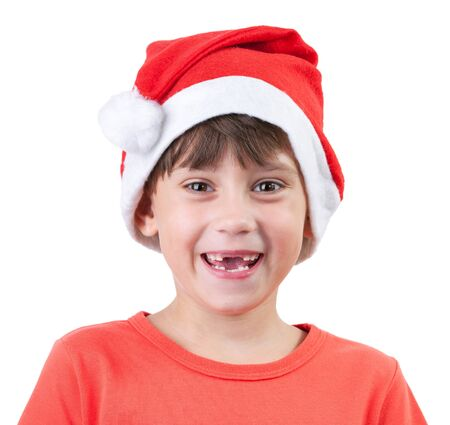 blithe: Cheerful girl in a cap of Santa Claus Stock Photo