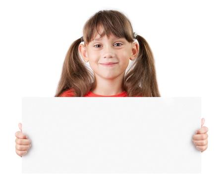 blithe: Chica alegre con un cartel en las manos
