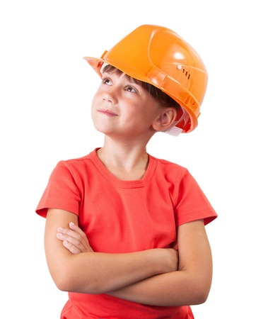 millwright: Little girl in the construction helmet looking up