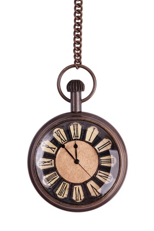 Antique pocket watch on a white background