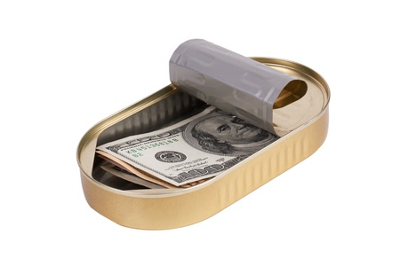 Tin can with dollars on a white background Stock Photo - 16146173