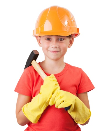 mounter: Child in a protective helmet with big hammer