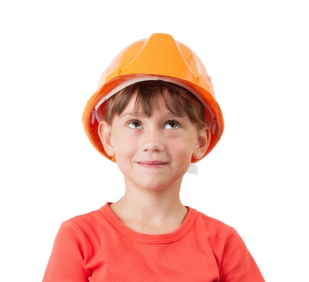 mounter: Girl in a protective helmet looking up at something