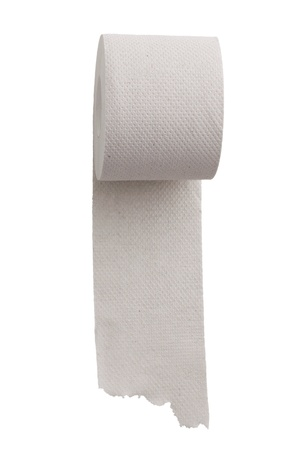 unwound: Unwound a roll of toilet paper on a white background Stock Photo