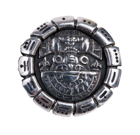 ethnology: Medallion as a symbol of Maya on a white background