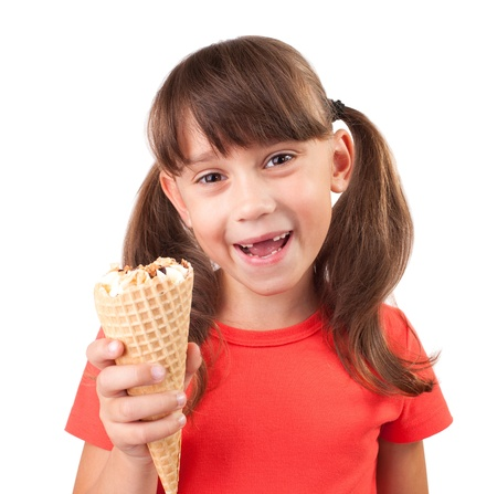 blithe: Little girl with ice cream in hand on a white background