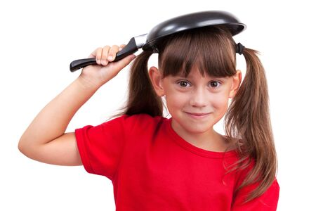 Little girl holding a frying pan over the head Stock Photo - 17040702