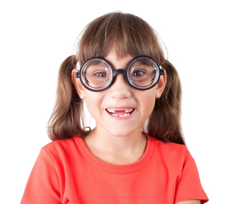 Cute smiling little girl in funny glasses Stock Photo - 17040700