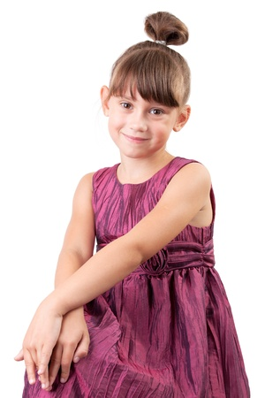 Cute little girl in a stylish burgundy dress Stock Photo - 17040701