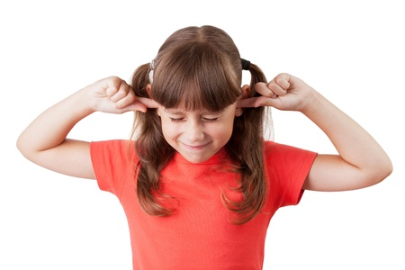 claustrophobia: Little girl covered his ears with fingers
