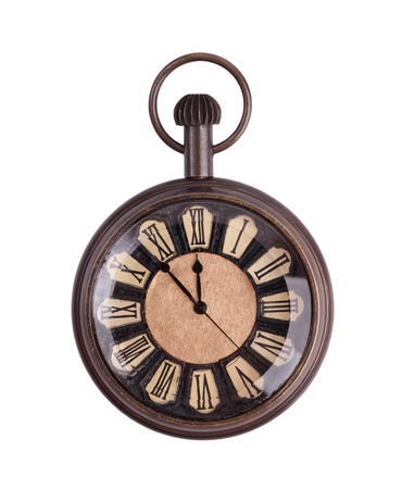 horologe: Vintage pocket watch on a white background Stock Photo