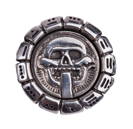 Medallion fragments from the Mayan calendar on a white background photo