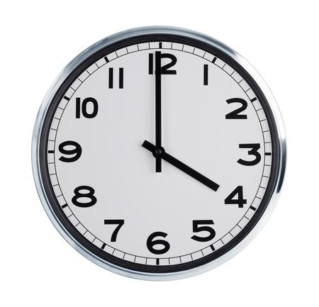 reloj pared: Ronda reloj de pared es un cuarto de hora Foto de archivo