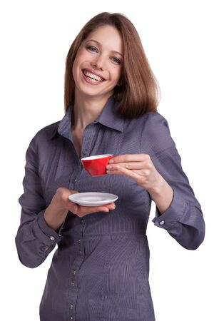 Pretty young woman with red cup of coffee Stock Photo - 17018974
