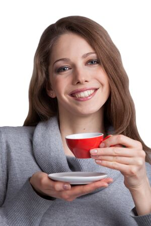 Pretty woman in sweater holding a cup of coffee Stock Photo - 17018975