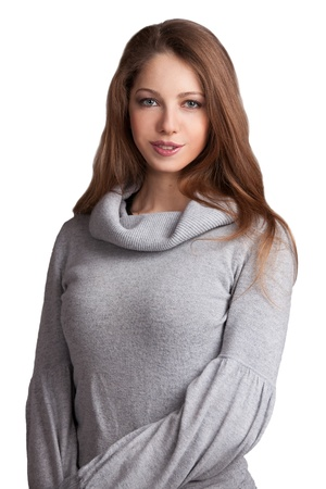 Beautiful young woman in gray knit sweater Stock Photo - 17040706