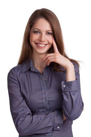 Pretty woman businessman in a blue shirt Stock Photo - 17053448