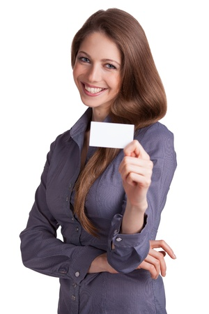 Pretty girl with business card in hand on white background