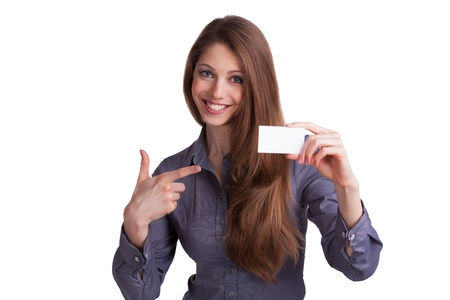 Cute girl showing a business card in hand Stock Photo - 17077336