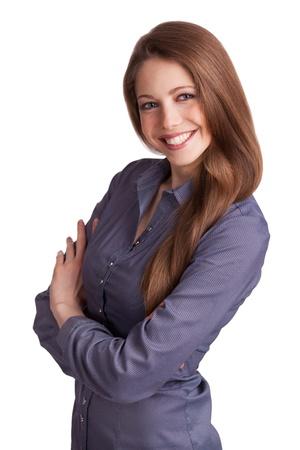 Beautiful stylish woman in a blue shirt on white background Stock Photo - 17099003