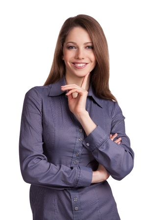 Beautiful dark-haired woman in a stylish shirt Stock Photo - 17133675