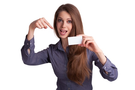 Pretty young girl shows a business card Stock Photo - 17133673