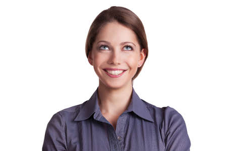 Pretty cheerful woman looking up at something Stock Photo - 17133027