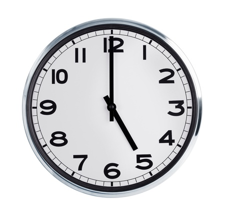 horologe: Five hours on the large round wall clock Stock Photo