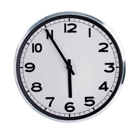 Five to six on the large round wall clock Stock Photo - 17192598