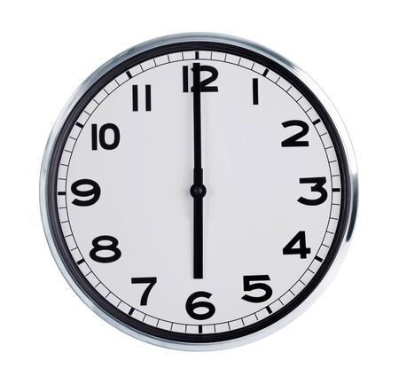 horologe: Six hours on the large round wall clock Stock Photo