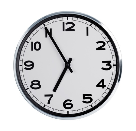 Six hours on the large round wall clock Stock Photo - 17192594