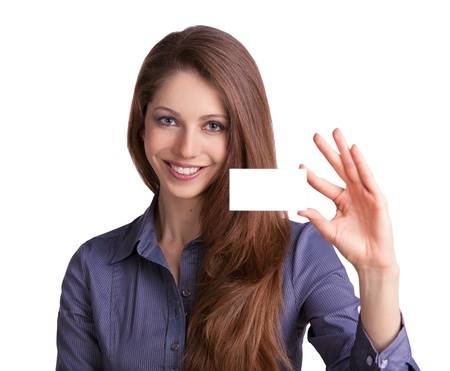 Cute girl showing a business card in hand photo