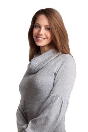 entice: Beautiful brunette in a gray wool sweater
