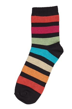 Black sock in colorful stripes on a white background Stock Photo - 17374609