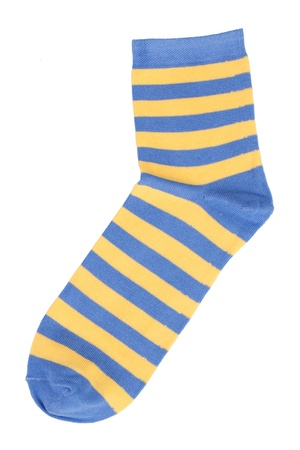 Blue socks with yellow stripes on a white background Stock Photo - 17374610